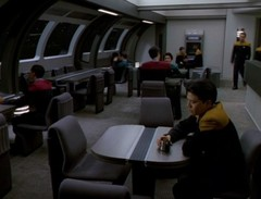 Crew mess hall on board an Intrepid-class vessel